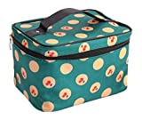 Discoball Lady Women Cosmetic Makeup Toiletry Travel Wash Bag Holder Mirror Case Organizer(Green + cherry)