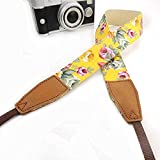 Bailsy Camera Shoulder Neck Strap Vintage Universal Camcorder Belt for All DSLR Camera Nikon Canon Sony Olympus Samsung Pentax Fujifilm Classic Cute Flower Print Yellow