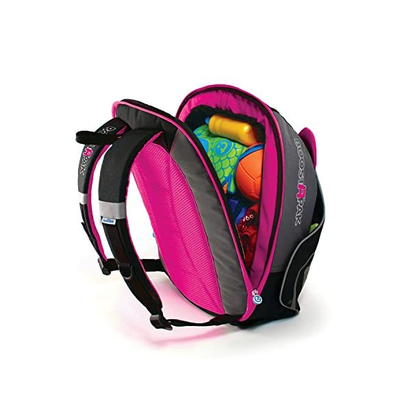 Trunki BoostApak - Travel Backpack & Child Car Booster Seat for Group 2-3 (Pink)  QUICKLY TRANSFORMS - Kid's bag to portable booster cushion in seconds (featuring internal hard shell and fold out seatbelt guides) AVOID HIRE CHARGES - On fly drive holidays! Can also be used as dining, cinema or stadium booster to see the action HAND LUGGAGE - 8-litre capacity for packing toys/games/stationary keeping children entertained on the go 5