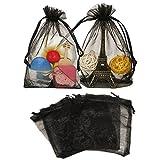 100 Stück 10cm x 15cm Organza saeckchen,Organza-Geschenk-Taschen mit Kordelzug für Hochzeit Schmuck Süßigkeiten Schokolade Taschen (schwarz)
