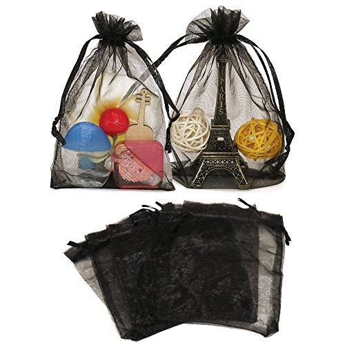 cm Organza saeckchen,Organza-Geschenk-Taschen mit Kordelzug für Hochzeit Schmuck Süßigkeiten Schokolade Taschen (schwarz) (Geschenk-taschen Schwarz)