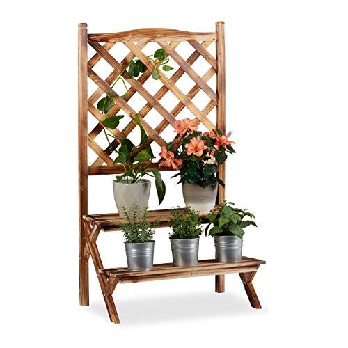 Relaxdays Blumentreppe mit Rankgitter, Blumenregal 2 Ebenen, stehende Pflanzentreppe Holz, HBT: 109x61x40 cm, gebrannt