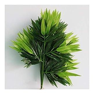 7°MR Planta Artificial 5 Piezas de Ramas Verdes de bambú Artificial Hojas de Tela de Seda Plantas Artificiales for decoración de Oficina en casa Hojas Decorativas