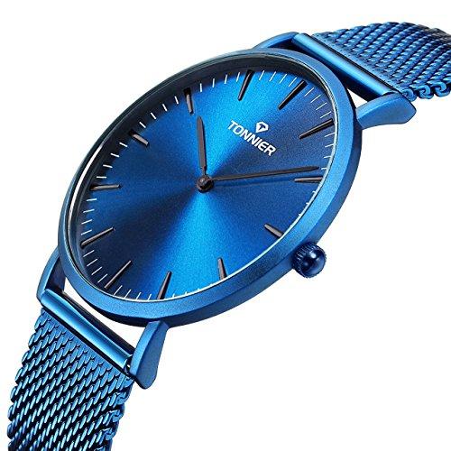 Tonnier Herren-Armbanduhr Edelstahl Slim Elektro-Optik Blau Mesh Quarz