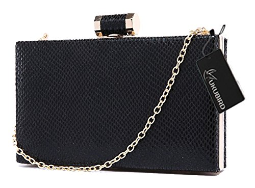 Kukubird Premium Bestellt Clutch Large Size Ladies PROM Party Geldbörse Portemonnaie Black