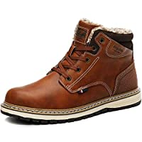 AX BOXING Mens Snow Boots Winter Warm Ankle Boots Fully Fur Lined Anti-Slip Boots Leather Work Hiking Boots (9.5 UK, Brown)
