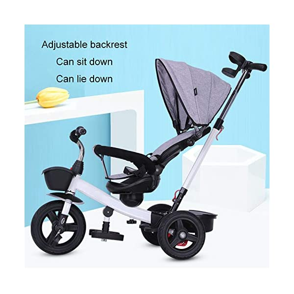 BGHKFF 4 In 1 Childrens Tricycles 1 To 5 Years 360° Swivelling Saddle 2-Point Safety Belt Children's Pedal Tricycle Folding Sun Canopy Children's Hand Push Tricycle Maximum Weight 50 Kg,Green BGHKFF ★Material: High carbon steel frame, suitable for children aged 1-5, maximum weight 50 kg ★ 4 in 1 multi-function: can be converted into a stroller and a tricycle. Remove the hand putter and awning, and the guardrail as a tricycle. ★Safety design: golden triangle structure, safe and stable; 2 point seat belt + guardrail; rear wheel double brake 5