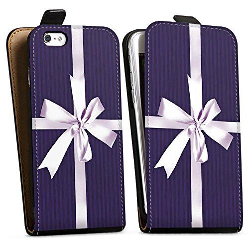Apple iPhone X Silikon Hülle Case Schutzhülle Geschenk Schleife Lila Downflip Tasche schwarz
