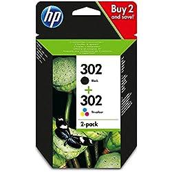 HP 302 - Paquete de ahorro de 2 cartuchos de tinta original negro/tricolor, color negro