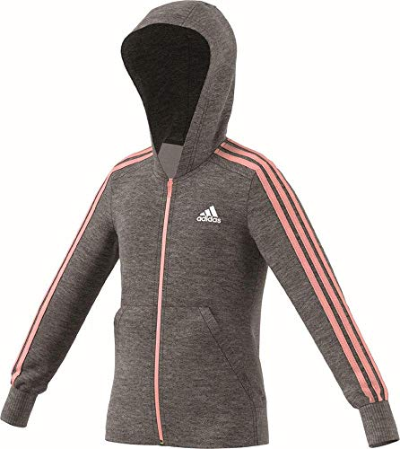 adidas Mädchen 3 Stripes Full Zip Hooded Kapuzen-Jacke Dark Grey Heather/Haze Coral/White 128