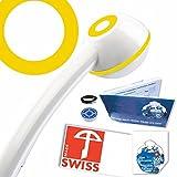 Handbrause drucksteigernd NINA, Powerstrahl, verkalkungsfrei, Schweizer Produkt, 1 Wassersparer für 2 Durchflussmengen und 4 Strahl-Varianten, Energieeffizienz B-C