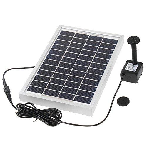 Hedc® Solar Teichpumpe,5W Solar Springbrunnen Max.Saughöhe:60 cm 380 L/h mit 3 Verschiedenen Düse Solarpumpen Teich Springbrunnen Wasserpumpen für Gartenteich