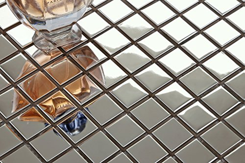 10 cm x 10 cm modello. In acciaio inox con superficie opaca liscia e piastrelle a mosaico MT0130 sample