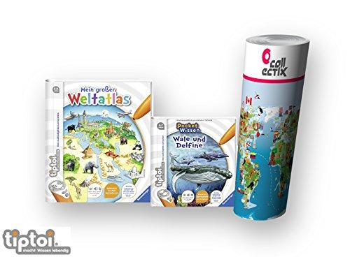 Ravensburger tiptoi ® Bücher Wieso? Weshalb? Warum? 4-7 | Mein großer Weltatlas + Buch Pocket Wissen - Wale und Delfine + Kinder Weltkarte (Pocket-buch Mein)