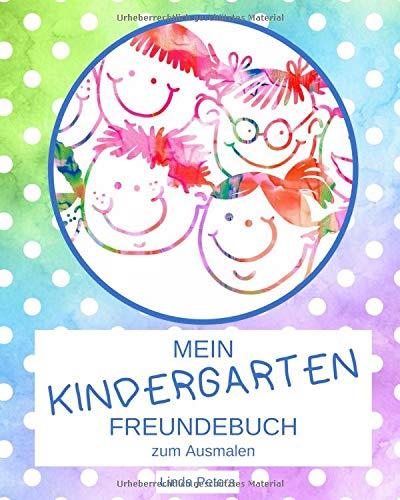 Mein Kindergarten Freundebuch zum Ausmalen: Kindergartenfreundebuch mit extra Seiten für Erzieher | Design: getupft blau