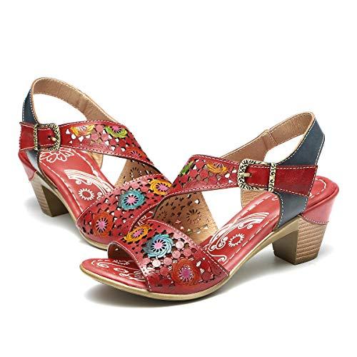 Gracosy Sandalias Cuero Verano Mujer Estilo Bohemia Zapatos de Tacón Medio para Mujer de Dedo Sandalias...
