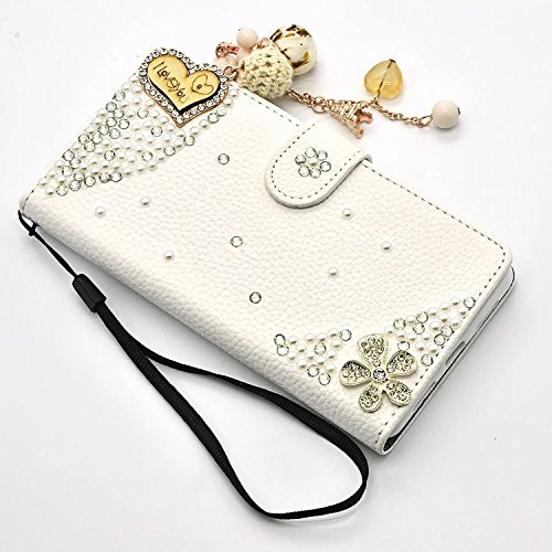 Vandot iPhone 7 Plus Housse en Cuir de Bling Folio Diamant Cristal Strass Bow-knot Case pour iPhone 8 Plus 5.5 Pouces Cover avec Magnetic Flip Card Holder Strass Coque Etui pour iPhone 7 Plus / 8 Plus Diamand-20