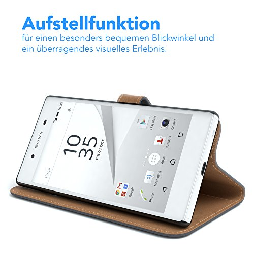 Sony Xperia Z5 Hülle - EAZY CASE Premium Flip Case Handyhülle - Schutzhülle aus Leder in Grün Anthrazit (Book)