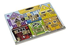 Melissa & Doug 13785 Latches Board With 3 Pretend Keys For Extra Fun
