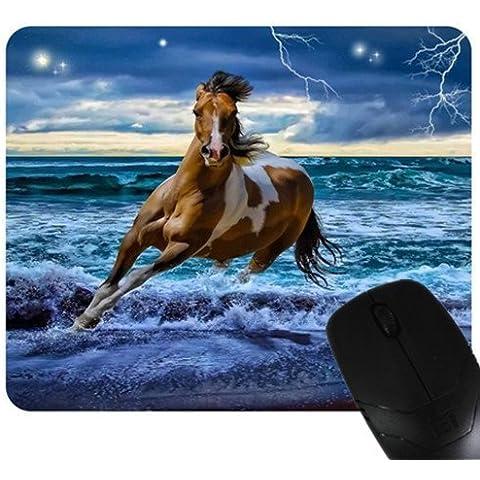 Cavalli in fuga nel mare blu mouse pad/tappetino per mouse, Mousepad Cavalli Mouse Pad/tappetino per mouse da D 2016