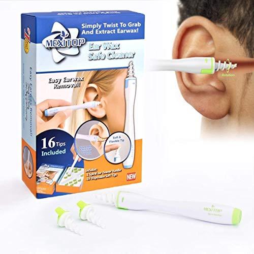 Nettoyant d'oreille, Kit d'enlèvement de cire d'oreille, cire d'épilation en spirale doux avec 16 têtes de remplacement en silicone jetables améliorées pour bébé, hygiène de l'oreille familiale