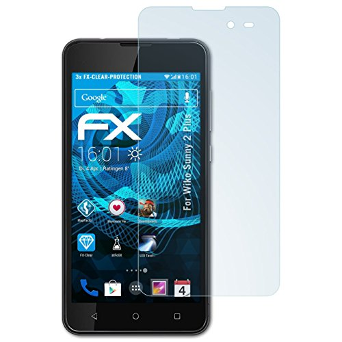 atFolix Schutzfolie kompatibel mit Wiko Sunny 2 Plus Folie, ultraklare FX Displayschutzfolie (3X)
