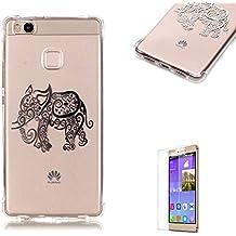 iPhone 5SE/6S, Samsung Galaxy A310, A510, G530, J120, S5, S6, S7edge, LG K7/K8/K10, Huawei P8/P9lite, J3Modelo de 2015Funda [con protector de pantalla gratuito], funyye de silicona suave transparente TPU a prueba de arañazos Creative navideño dibujo estampado diseño de ultra slim carcasa Little Elephant Huawei Ascend P9 Lite
