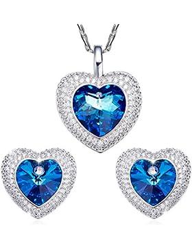SILYHEART Herz Anhänger Halskette Ohrringe Schmuck Set Modeschmuck für Damen mit Swarovski Kristallen Herz des...