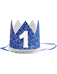 Birthday Cap for Babies (1 Years) / Birthday Hairbands/ Headbands for Baby (1 Years) Crown Style Headbands/ Hairbands (1 Year) … (Blue)