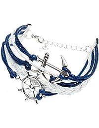 CargoMix® Infinity Armband retro stricken Ruder Anker Armband Blau und Weiß Unendlichkeit Lady Retro Knit Kreuz Liebe / Rudder Anchor / Liebeszauber Suede Wrap Damen Armband