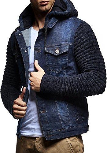 LEIF NELSON Herren Jacke Hoodie Strickjacke Kapuzenpullover Vintage Jeansjacke Sweatjacke Strick Jeans LN5240; Größe M, Dunkel Blau
