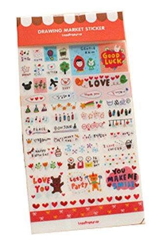 5 Sheets Diy Tagebuch-Aufkleber Handy-Dekoration-Aufkleber rosa