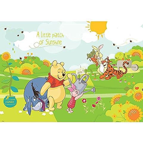 Vlies Fototapete PREMIUM PLUS Wand Foto Tapete Wand Bild Vliestapete - Winnie Pooh Ferkel Tiger I-Aah Rabbit Sonne Bienen Blumen Kindertapete - no. 2116, Größe: 208 x 146 cm Vlies