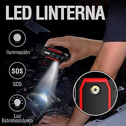 TrekPow Arrancador de Baterías de Coche A18, 800A Arrancador de Coches con Pinzas Inteligentes y Pantalla LED, Banco de Baterías con USB QC3.0 & Tipo C, Diseñado para 12V 6L Gasolina y 5L Diésel