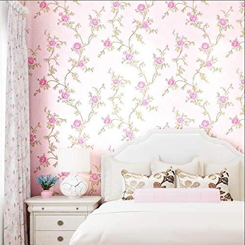 HNZZN Warme Pastorale europäischen Rebsorten Blumen Woven Tapeten Schlafzimmer Wohnzimmer Hintergrund Wand Tapeten Amerikanischen 3D-Rotary Prägung, 710-5, 53 CM X 10 M