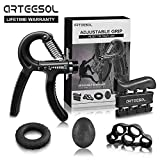 Handtrainer Fingertrainer Set, Arteesol Hand Trainingsgerät (5-50kg) 5 in 1 Unterarmtrainer Einstellbar Hand Grip für Klettern Fitness Therapie Krafttranieren Handrehabilitation [4 Color], Schwarz