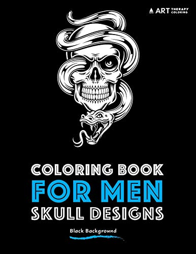 Coloring Book For Men: Skull Designs: Black Background