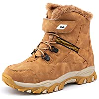 UBFEN Boys Snow Boots Kids Waterproof Boots Winter Boots Fur Lined Boots Big Kid 4.5 UK A Brown