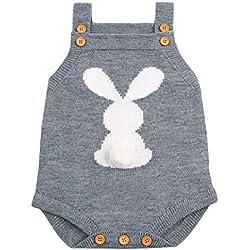 Venta caliente !Ropa para niños, FeiXiang♈Niño recién nacido bebé niña 2018 primavera último botón de la honda del conejo pantalones cortos de punto ropa sin mangas del mono (6M, gris)