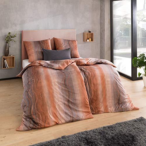 ESTELLA Mako Interlock Jersey Bettwäsche Amar Kupfer 1 Bettbezug 155 x 220 cm + 1 Kissenbezug 80 x 80 cm