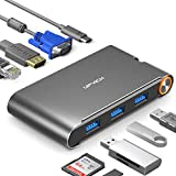 UPVICH USB C Hub,7 in1 USB C Adapter mit HDMI 4K,VGA 1080p,3 USB 3.0,1000/M Ethernet,PD 100W Port Kompatibel mit MacBook Pro 2016 zu 19,Air 18/19,iPad Pro 18/19,ChromeBook,XPS,Galaxy S8/S9 und mehr