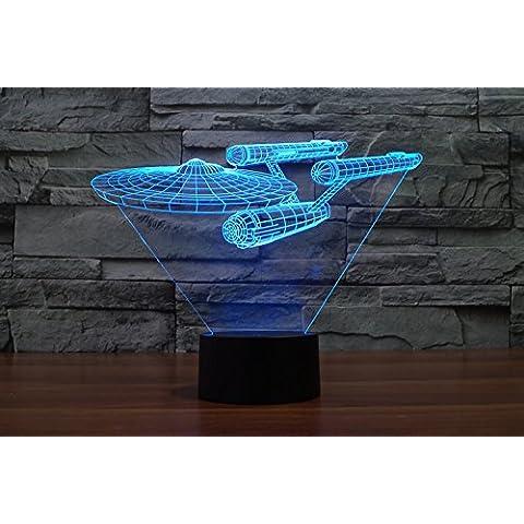 lampada 3D acrilico Star Trek navi luci