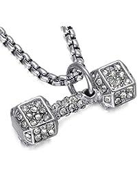 OOFAY Collar Fitness Mancuerna Acero Inoxidable Plata Personalidad Titanio Acero Diamante Barra Colgante Oro Hombres (
