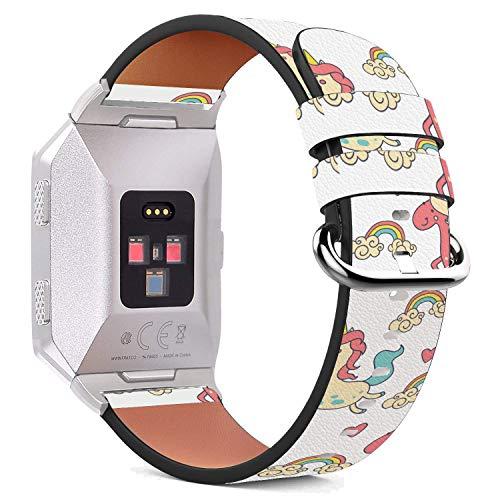 MysticBand Für Fitbit Ionic 44mm / 42mm Armbänder Uhrenarmband Ersatz Lederarmband mit integriertem Armband Adaptors - Rosa Pony-Märchen -