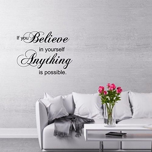 greenluup ® Wandtattoo englischer Spruch Zitat if you believe in yourself anything is possible in Schwarz