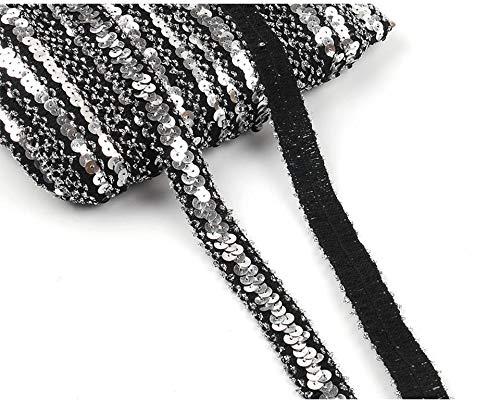Yalulu 10 Yards Glänzendes Elastische Paillettenband Glitzer Stretch Pailletten Bänder Borten Bortenband DIY Handwerk Bastelprojekte (Silber - Schwarz) -