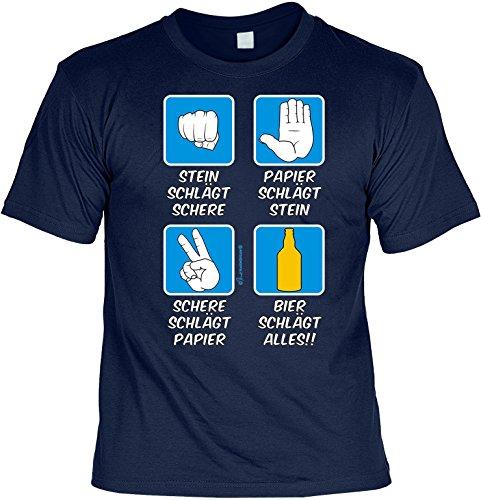 T-Shirt - Stein Papier Schere Bier - lustiges Karneval Shirt ideal als Geschenk für Fasching (Stein Schere Papier Kostüm)