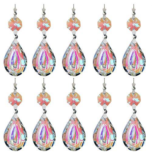 H&D bunte Lampe/Tropfen Prismen Teilen mit Octagon Perlen Kronleuchter Glas Kristalle Tropfen Anhänger japanische wollmispel Form 38 mm 10 Stück