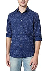 Allen Solly Mens Casual Shirt (8907308330056_AMSF515G02830_44_Dark Blue With Yellow)