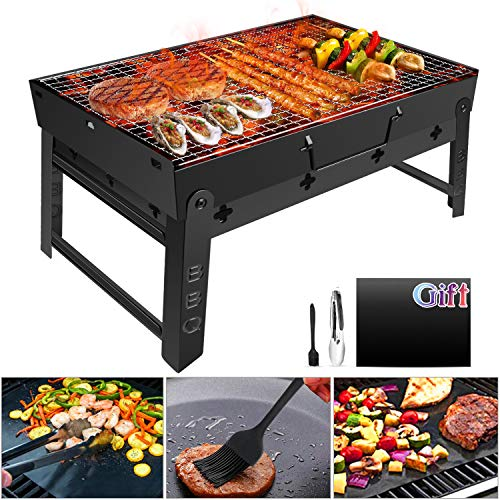 GolWof Faltbare BBQ Grill Holzkohlegrill Edelstahl Portable Grill Campinggrill Picknickgrill Tragbarer Klappgrill Outdoor mit Clip Bürste Matte für 3-5 Personen für Garten Party Camping 44*29*23cm